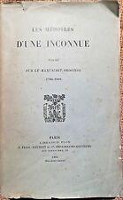 RECIT EMPIRE, Mémoires d'une Inconnue, sur le manuscrit original 1780-1816- 5187