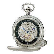 Gotham Men's Silver-Tone Double Hunter Mechanical Pocket Watch # GWC18801SB