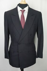 Luciano Barbera Navy Blue Red Striped Cashmere Blend 2 Pc Suit Sz 41R
