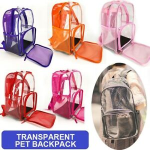 Pet Clear Carrier Backpack Transparent Cat Carrier Breathable Mesh Travel Bags