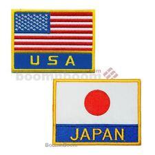 """NEW Japan & USA flag Patches Set 3"""" x 4"""" for Karate GI Uniform USA Japan Flag"""