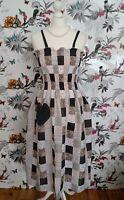 *RubeBee* Patchwork Boho Gipsy Hippy Floral Shirred Midi Sun Dress size  14 16