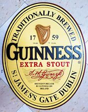Guinness Traditionally Brewed 3D Label Oval Wood Wall Art Pub Bar Man Cave