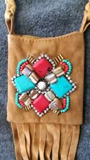 Boho Cowgirl Style Beaded Mini fabric twine neck bag purse pouch India Z4-1/22