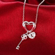 Lovely Wholesale 925 Sterling Silver Filled Love Heart Key Zircon Crystal Neckla