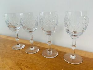 Original Vintage 'Webb Corbett' Crystal Cut Wine Glasses - Set of Four