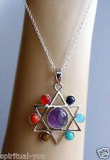 Silver Metal Magen 7 Gem Stone Rainbow Chakra Necklace, Spiritual Star of David