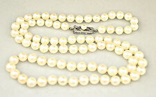 "GENUINE MIKIMOTO 5.9 - 6.4 MM PEARL NECKLACE 24"" LONG WITH 14K WHITE GOLD CLASP"