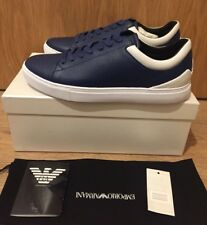 EMPORIO ARMANI Low Top Grain Leather Trainers Baskets Taille UK 10/EU 44