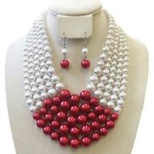 "18"" Adjustable 5 Layered Red and White Pearl Necklace W Matching Earrings"