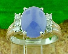 Pre owned 18k Solid white gold Ladies Natural Oval Jade Lavender ring 0.18 ct