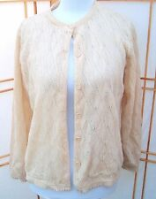 Vintage Helen Sue acrylic light weight cardigan sweater ivory sheer