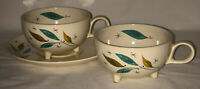 Salem FREE FORM DAYBREAK TURQUOISE LEAVES 2 FOOTED CUPS & 1 SAUCER*MCM