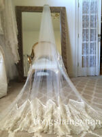 Vintage Lace 3M 1T White Ivory Cathedral Veil Plumn Long Wedding Veils With Comb
