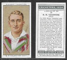 PLAYER'S 1934 CRICKETERS B.H.VALENTINE Card No 29 of 50 CRICKET CIGARETTE CARD