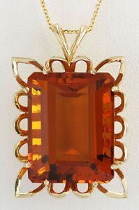 55.00 Carat Natural Citrine 14K Yellow Gold Necklace