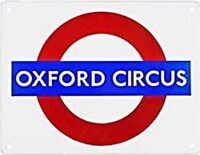 """OXFORD CIRCUS"" London Underground roundel small enamel sign (gg)"