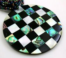 PAUA ABALONE & MOTHER OF PEARL BEADS necklace: AA291