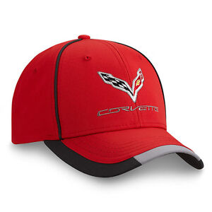 C7 Corvette Red Cap w/Embroidered Emblem -- 100% Polyester -- FREE Shipping
