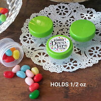 12 Clear Plastic Jars LIME GREEN Screw CAPS Lids DecoJars #3803 1/2 oz 1tbl USA
