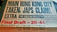 World War II *HONG KONG FALLS TO JAPAN Headline SF Paper
