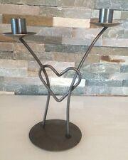 Kerzenständer Romantik Metall 2 armig Herz romantisch 25 cm Höhe (1610DE1)