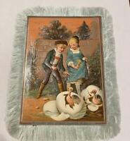 Antique Victorian Postcard Silk Fringe Easter Blessing Embossed Children Eggs