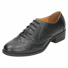 Ladies Black Lace Up Spot On Brogues Shoes F9962