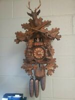 Vtg Hunter Cuckoo Clock German Black Forest Carved Hunter With  Dog.  Nice Rare.