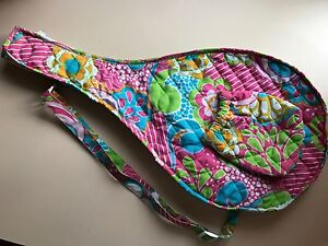 BRIGHT PINK & BLUE FLORAL QUILTED TENNIS RACQUET CARRYING CASE