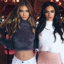 Sexy Women High Neck Crop Top Fluffy Long Sleeves Ladies Jumper Winter New