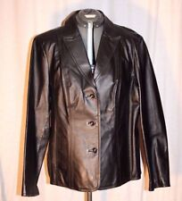 East 5th Black Leather Button Front Coat Jacket Size L