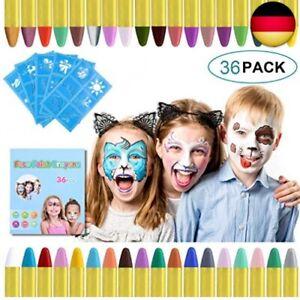 URAQT 36 Farben Kinderschminke Set Fasching,Gesichtsfarbe Schminkstifte