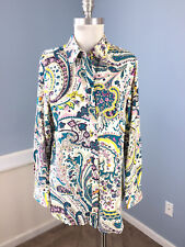 New Talbots M Blouse Paisley Long Sleeve $89 Career Cocktail Multi Color