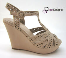 Womens Shoes T-strap Summer Sandal Wedge Heel Platform Peep Toe Strappy Fashion