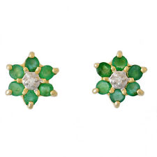 EMERALD DIAMOND EARRINGS. VINTAGE INSPIRED STUDS REAL DIAMONDS 9K GOLD GIFT BOX