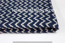 5 Yard Indian Fabric Hand Block Print Mudcloth Indigo Blue Cotton Lahariya Print
