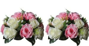 Pack of 2 Faux Silk Rose Flowers for Wedding/Party Centerpiece, Flower Decor
