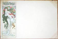 1900 Alphonse Mucha/Artist-Signed Postcard: Four Seasons, Autumn/Automne