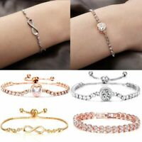 Fashion Women Silver Crystal Rhinestone Bangle Bracelet Wedding Bridal Jewelry