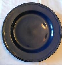 "Sabatier Cannes Blue Dinner Plate Black Ring Scalloped - 11"""