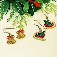 Christmas Bells & Sleigh, Red & Green Dangle Hook Lot of 2 Earrings
