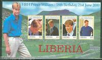 LIBERIA 18th  BIRTHDAY OF PRINCE WILLIAM IMPERFORATED SHEET MINT NH