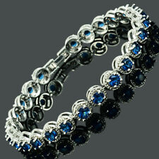 Lady Gift White Gold Plated CZ Zirconia Blue Sapphire Tennis Statement Bracelet