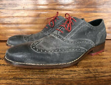 Men's Cole Haan Wingtip Shoes Gray Burnished Leather Size 10 M