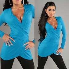 HAUT TOP FEMME MANCHES LONGUES TURQUOISE NEUF TAILLE 36 38 40 TU cache coeur