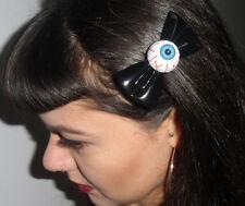 Pince clip barette cheveux oeil yeux psychobilly noeud noir vinyle pvc brillant