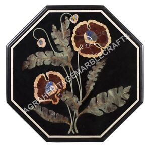 """24"""" Marble Console Outdoor Table Top Marquetry Floral Inlay Furniture Decor E591"""