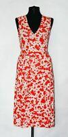 DIANE VON FURSTENBERG Vintage 100 % Silk Jersey Ivory / Red Judy Wrap Dress Sz 4