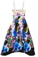 Girls Bright Floral Print Cotton Summer Dress Kids Beach Dresses Age 2-12 Years